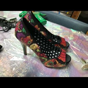 Iron Fist rockabilly peep toe tattoo retro heels